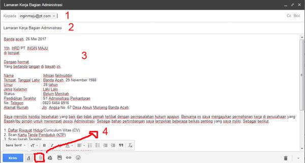 Gambar Panduan Contoh Surat Lamaran Kerja Via Email Beserta Lampirannya