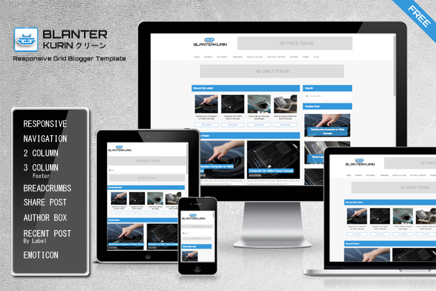 Blanter Kurin Responsive Grid Blogger Template