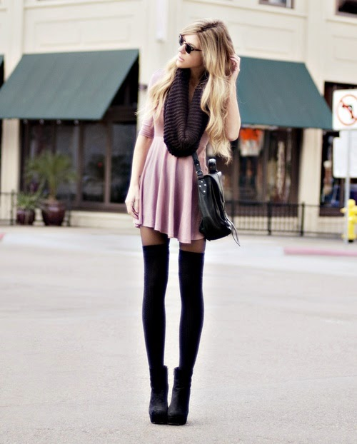 knee socks and pink dress.