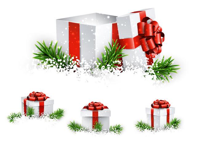 Vector hộp quà tặng với nơ màu đỏ trắng được đặt trên cây xanh
