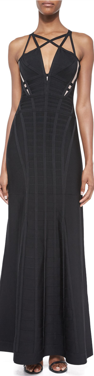 Herve Leger Sleeveless Cage Cutout Gown, Black