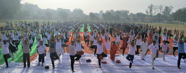 Pilot rehearsal of International Yoga Day at Palwal, Faridabad