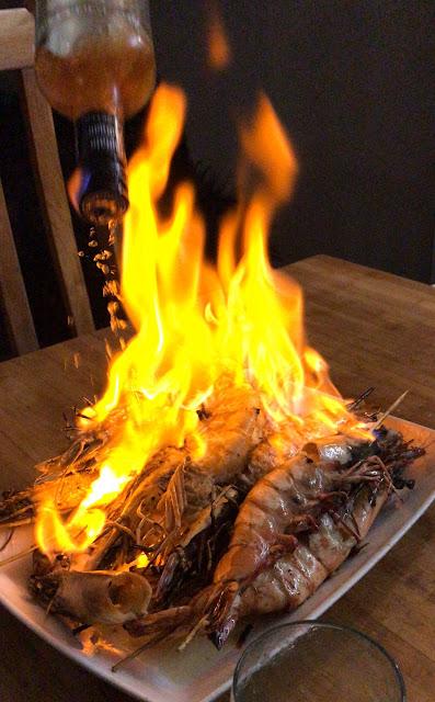 Chef BBQ experience, Mauritius, flambe prawns