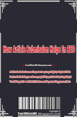 How Article Submission Helps In SEO, How to get more traffic by posting.