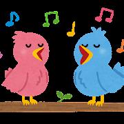 歌う鳥のカップルのイラスト