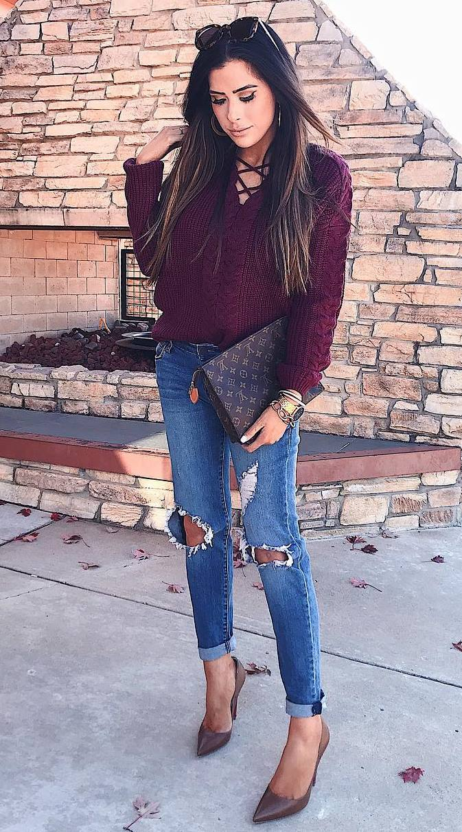 trendy outfit idea / burgundy lace up sweater + brown bag + rips + heels