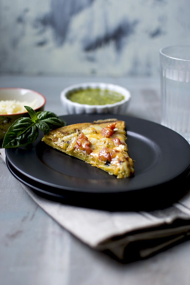 Socca Pizza with pesto