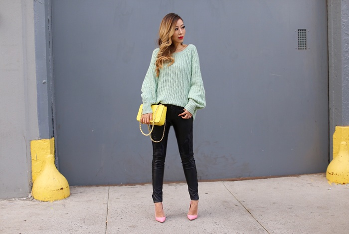 wildfox couture solid sweater, blank denim moto pants, christian louboutin pink so kate, baublebar earrings, tory burch crossbody bag, revolve me, revolve around the world, fashion blog, nyc street style