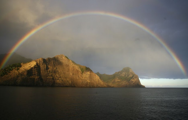 A rainbow over the Juan Fernandez islands, 400 miles from the Chilean mainland.