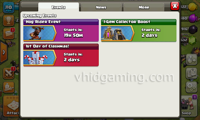 clash of clans event button and tab