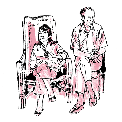 Drawing based on a photo of Giusi and Rex Benedict in the late 1960s
