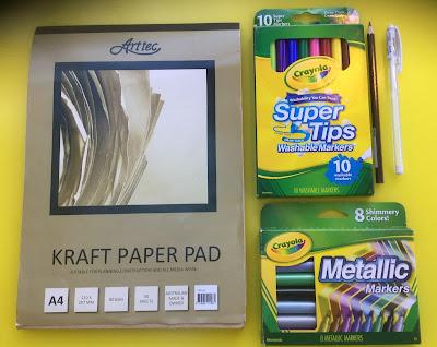 Crayola markers, metallic markers, kraft paper, markers, gel pen