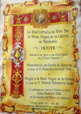 Pregón y Cena Romera de la Virgen de la Cabeza de Marmolejo