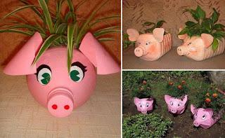 bidones de plastico hechos macetas en forma de cerdo