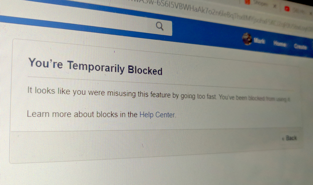 Facebook You're Temporarily Blocked