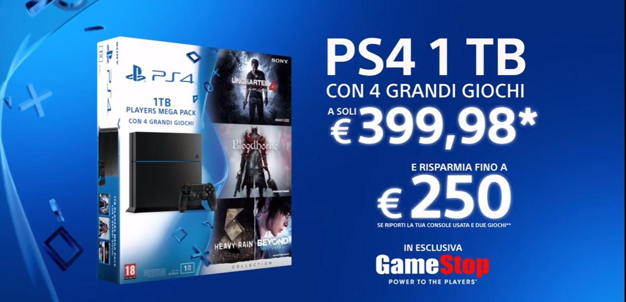 Canzone Pubblicità Sony Playstation 4 PS4 1 TB con 4 grandi giochi a soli €399,98