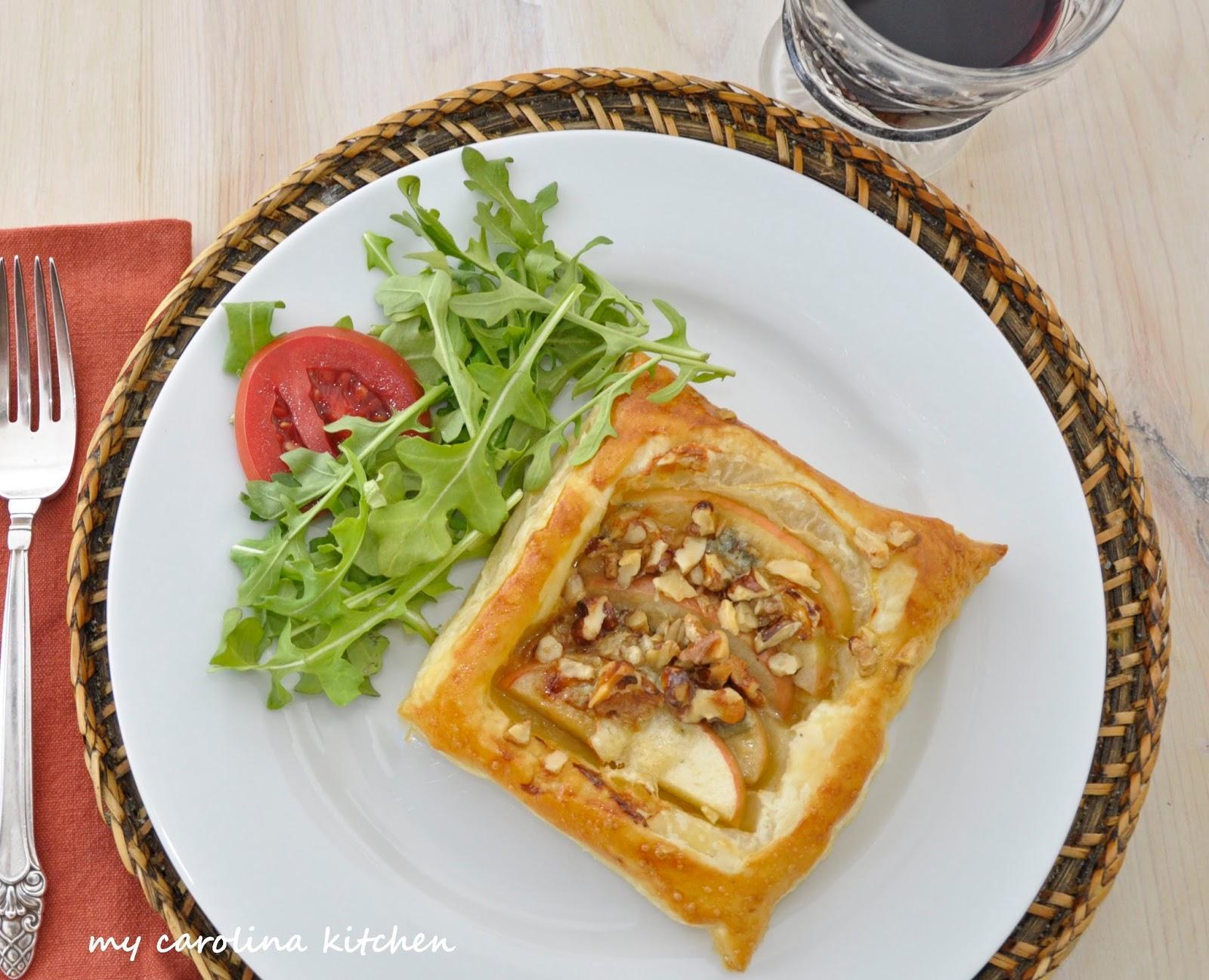 My Carolina Kitchen: Individual Savory Apple, Blue Cheese & Walnut Tarts