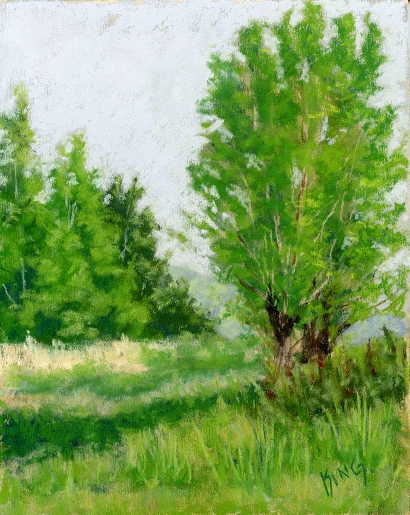 art painting pastel plein air landscape nature Jordan River Parkway