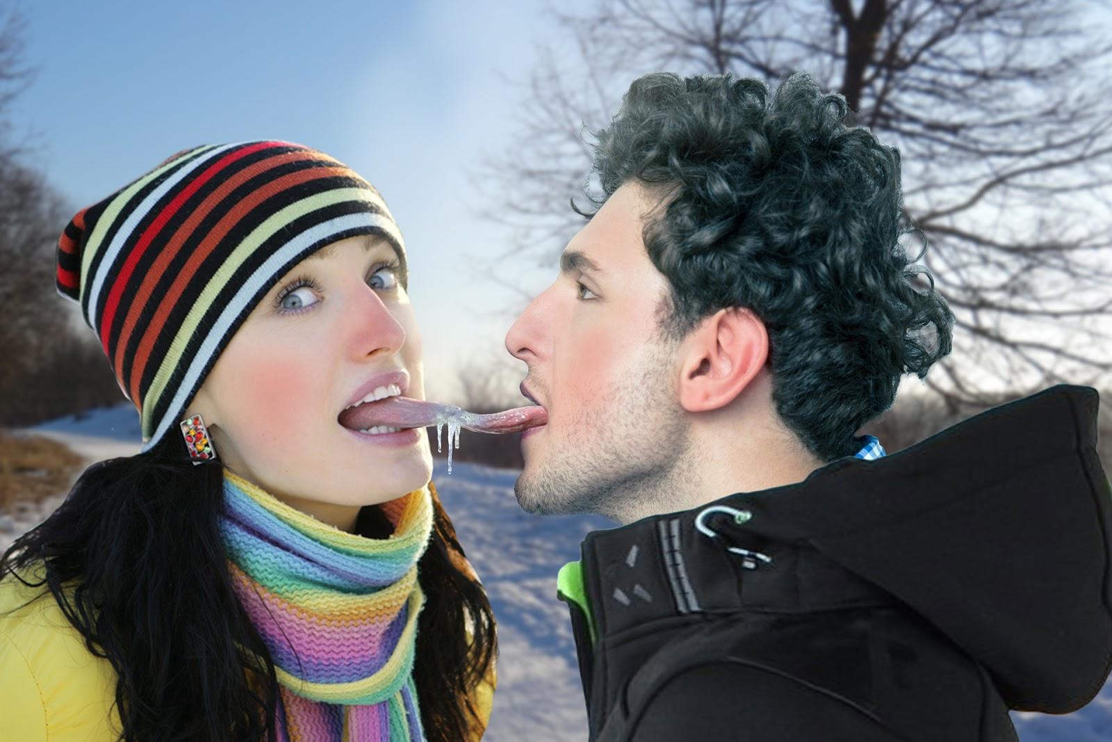 Der Postillon: Paar bei Zungenkuss aneinander festgefroren