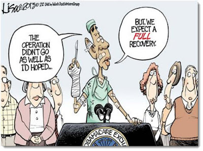 a cartoon picture of President Obama making light of Obama Care