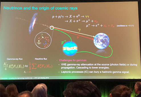 Neutrinos and Cosmic Rays (Source: Marcos Santander, U of Alabama, at APS April Meeting in Denver)
