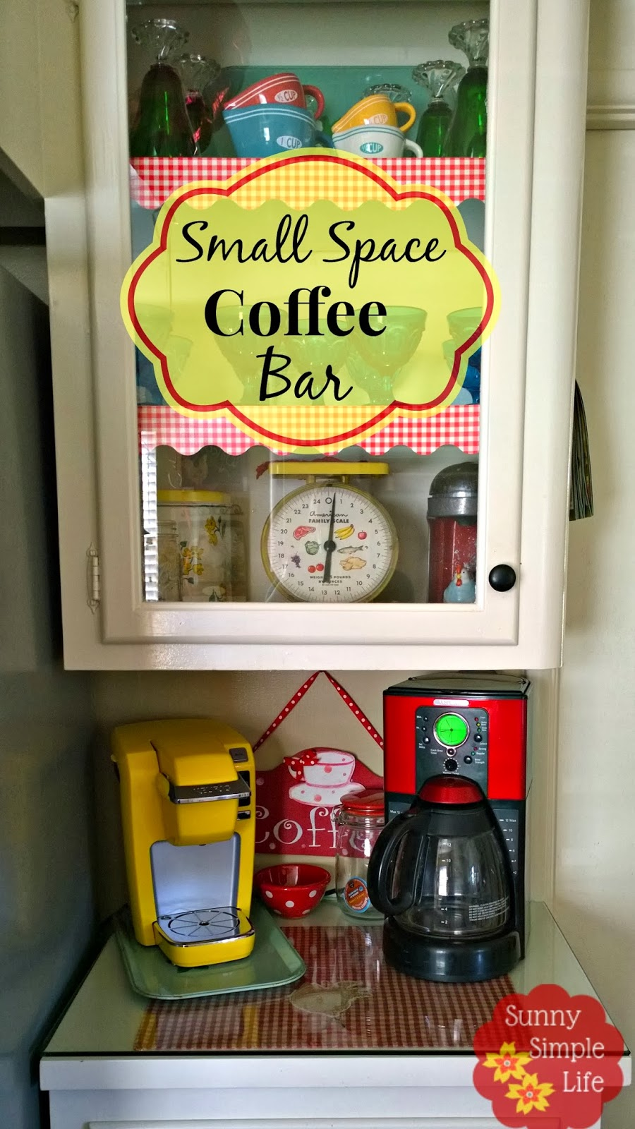 vintage cabinet, keurig, coffee counter