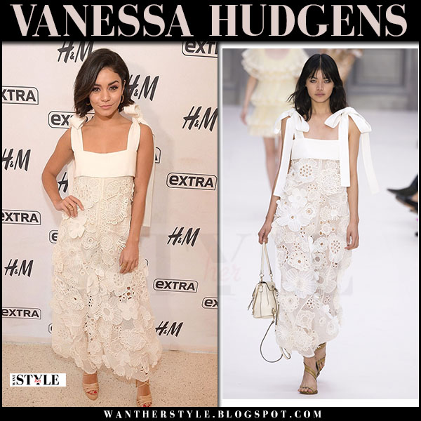 Vanessa Hudgens in white floral embroidered maxi dress chloe what she wore june 21 2017