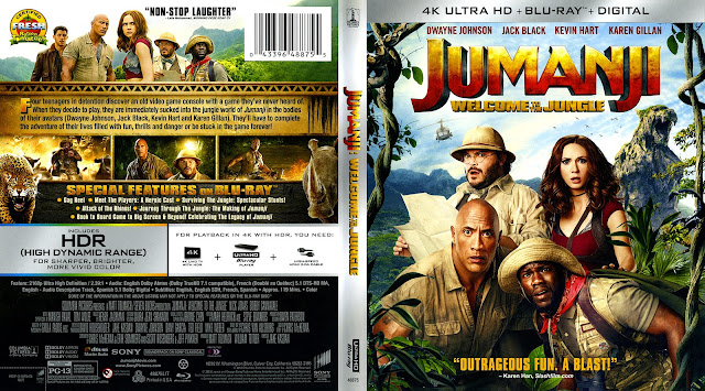 Jumanji Welcome To The Jungle 4k Bluray Cover
