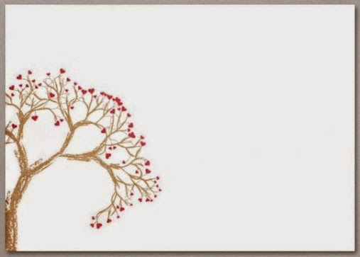 Valentines Card Envelope printed with Gold Tree and Red Heart