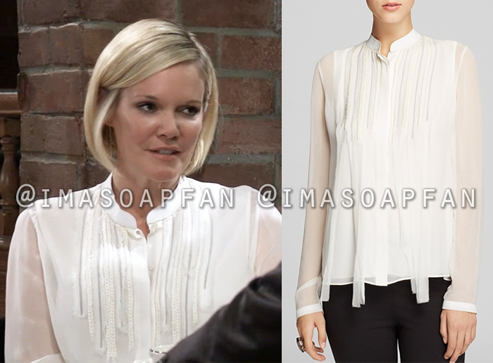 Ava Jerome, Maura West, White Silk Blouse with Braided Trim, General Hospital, GH