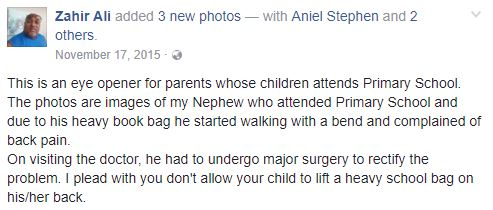 A Student Had To Undergo A Surgery For Doing This Same Thing Everyday - Carrying A Heavy Backpack To School!