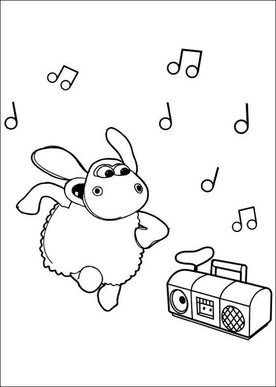 Tranh tô màu cừu Timmy nghe nhạc