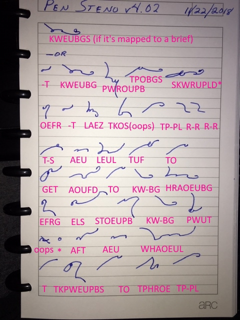 Using machine stenography in pen shorthand: Pen Steno   The