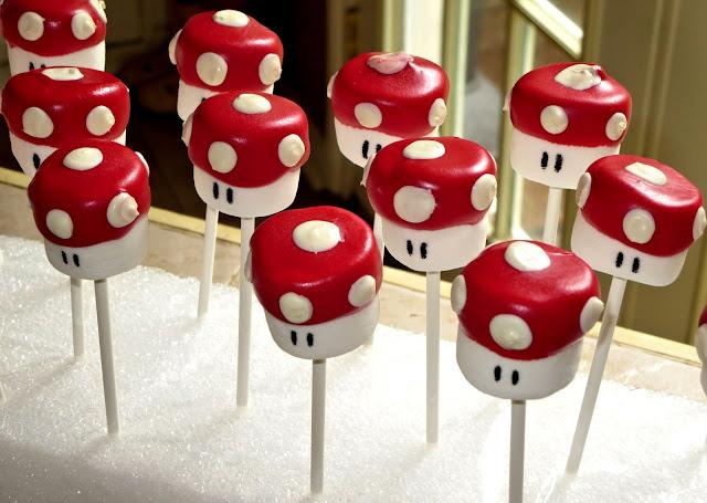 Mario Mushroom Marshmallow Pops - Close Up Angled View 2