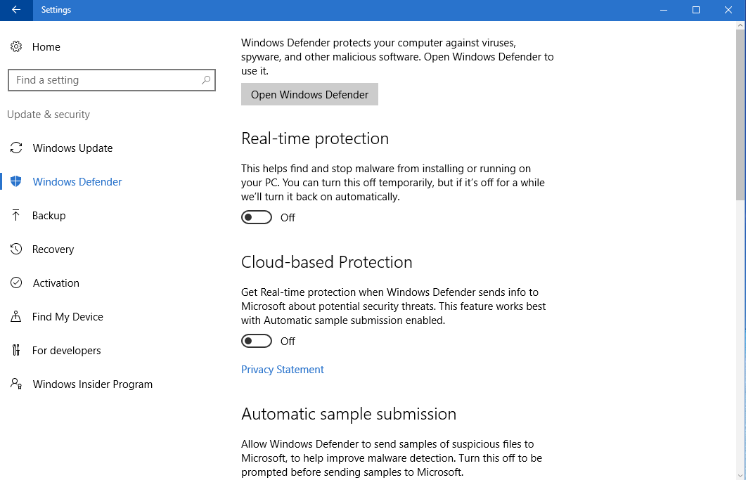 Note: If you used Windows Defender is also always offline: Check off all: