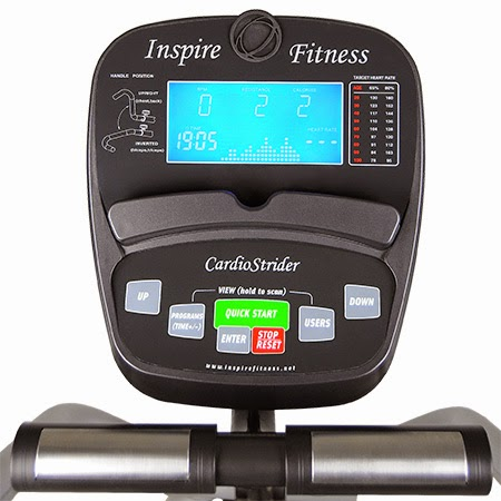 Inspire Cardio Strider 2 (CS-2), computer console with blue backlit LCD display to show workout stats