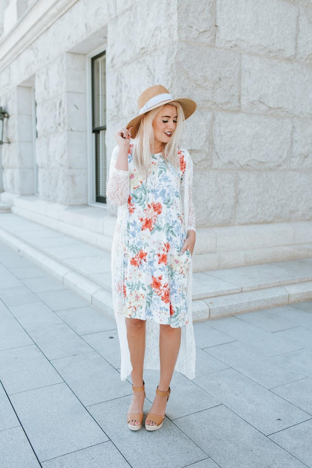Floral Dess, LipSense, Lace Cardigan