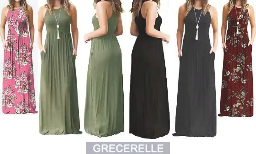 Grecerelle Sleeveless Gowns: Women's Fashionable Long Maxi Waist-Fitted Dress with Side Pockets