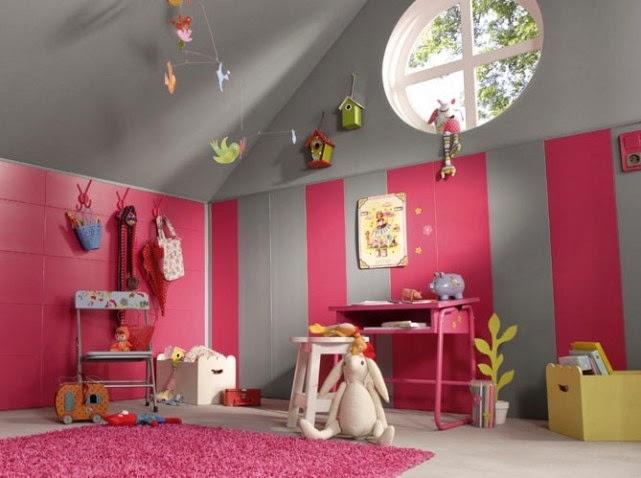 Cuarto niña gris rosa