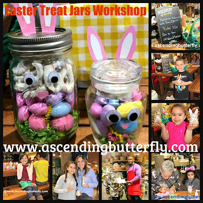 Photo Collage of March 2017 DIY Easter Treat Jars Workshop, Cost Plus World Market Brooklyn, NY