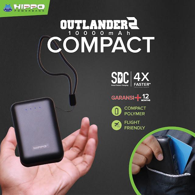 Powerbank HIPPO Outlander2 Compact Penuhi Daya Cadangan Smartphone Seharian