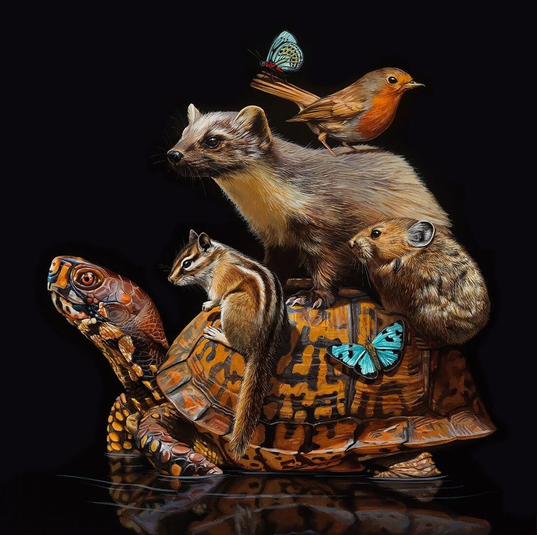 07-Mobile-Habitats-Lisa-Ericson-Animals-Interspecies-Friendships-Paintings-www-designstack-co