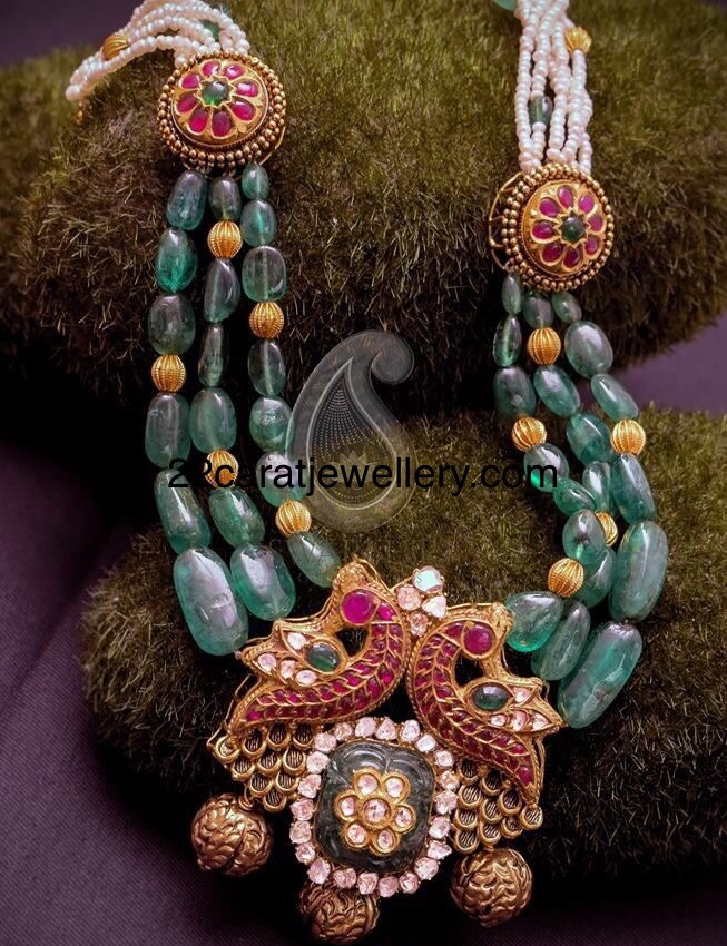 Emerald Drops Necklace by Swarnsri Jewellers