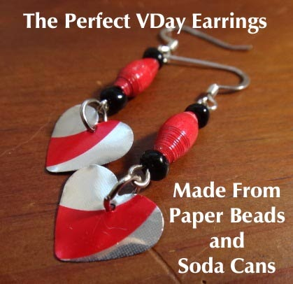 Upcycled Stuff Diy Valentine Earrings From Paper Beads And Soda Cans