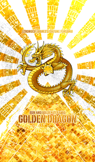 Golden dragon sun and golden pyramid