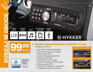 Radio samochodowe Hykker Tune Biedronka ulotka