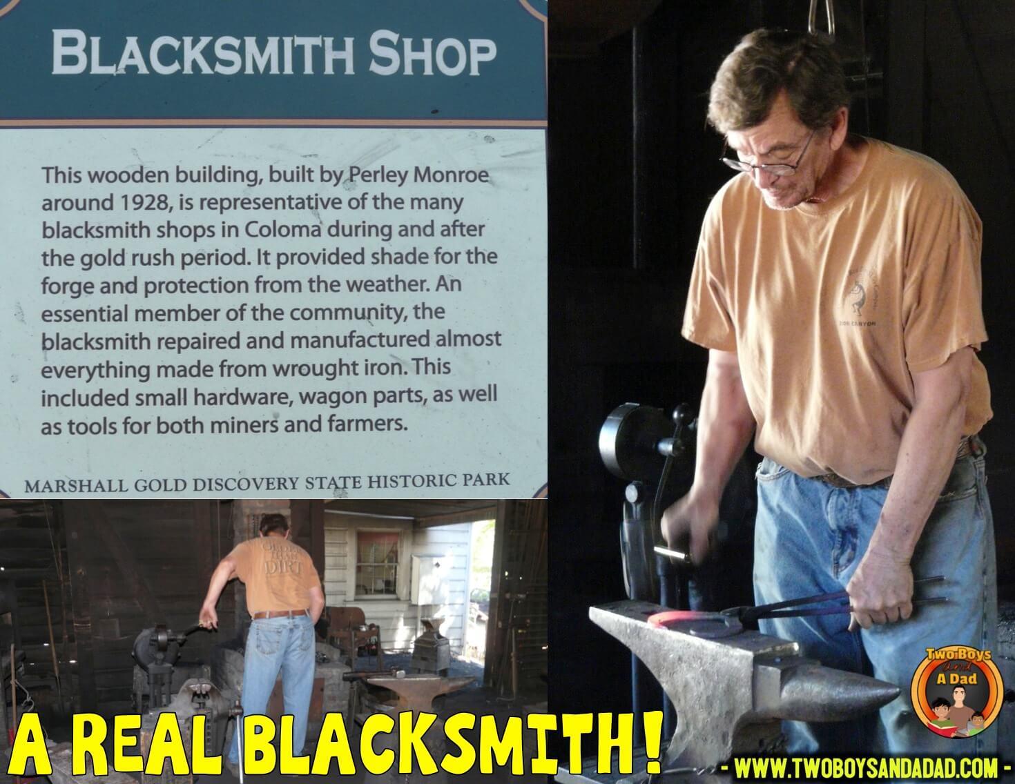A blacksmith shows how to make a horseshoe