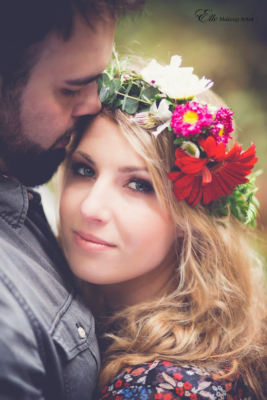 Boho-Syled Photo Shoot - Earthy Coral Makeup Paired with Beautiful Floral Headpiece