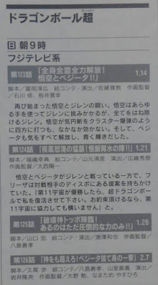 Dragon Ball Super episodes 123 - 124 - 125 and 126 titles and summaries