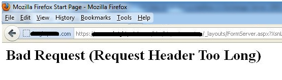 bad request request header too long sharepoint